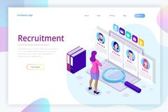 Isometric online job search and human resource, recruitment concept. We are hiring. Presentation for employment and. Infographics for recruiting. Template royalty free illustration
