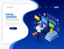Isometric Online Language Learning Interface and Teaching Concept. Online language school lifestyle. Education Concept. Vector illustration Royalty Free Stock Photography
