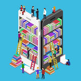Isometric online mobile library. Vector flat concept. E-books 3d illustration with micro people vector illustration