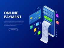 Isometric online payment online concept. Internet payments, protection money transfer, online bank vector illustration vector illustration