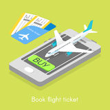 Isometric online purchase flight tickets. Royalty Free Stock Photos