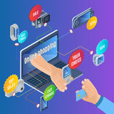 Isometric Online Shopping Concept. With electronic portable gadgets and devices for sale and colorful stickers vector illustration Royalty Free Stock Photos