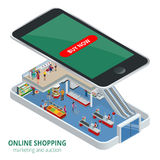 Isometric online shopping concept. Smart phone online shopping. Buy shoes, clothes, accessories, products, perfumes. Appliancesaccessories with e commerce web Stock Photos