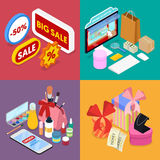 Isometric Online Shopping. Mobile Payment. Internet Store. Electronic Business Stock Photo
