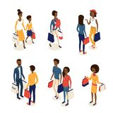 Isometric online shopping 2. Modern isometric ethnic african american characters with goods and purchases,web online shopping concept.Black ethnic group vector illustration