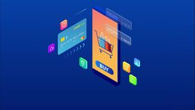 Isometric online shopping and payment, sale, consumerism, and online store. Mobile marketing and e-commerce. Internet vector illustration