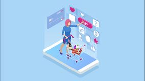 Isometric online shopping and payment, sale, consumerism, and online store. Mobile marketing and e-commerce. Internet stock illustration