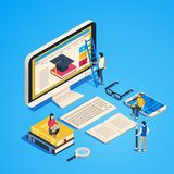 Isometric online teaching. Internet classroom, student learning at computer class. Online university graduate 3d vector. Isometric online teaching. Internet royalty free illustration