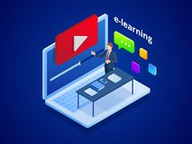 Isometric online video training or tutorial. E-Learning by the webinar training. Online education at Video blog concept. Vector Illustration royalty free illustration