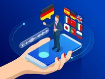 Isometric online voice translator and learning languages concept. E-learning, translate languages or audio guide. Artificial Intelligence chatbot translator stock illustration