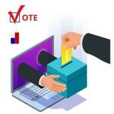 Isometric online voting and election concept. Digital online vote democracy politics election government. Isometric online voting and election concept. Digital vector illustration