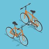 Isometric Orange Bicycle Ecologically Transportation Royalty Free Stock Images
