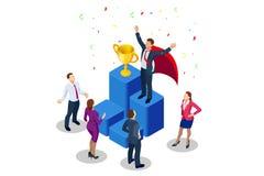 Isometric osiągnięcia pojęcie i biznesowego pojęcia odosobniony sukcesu biel Duży trofeum dla biznesmenów ilustracja wektor
