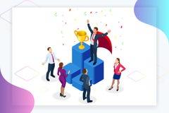 Isometric osiągnięcia pojęcie i biznesowego pojęcia odosobniony sukcesu biel Duży trofeum dla biznesmenów ilustracji