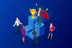 Isometric osiągnięcia pojęcie i biznesowego pojęcia odosobniony sukcesu biel Duży trofeum dla biznesmenów royalty ilustracja