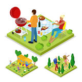 Isometric Outdoor Activity. Family Barbeque Grill and Camping. Healthy Lifestyle and Recreation Stock Photos