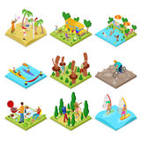 Isometric Outdoor Activity. Kayaking, Beach Volleyball, Mountain Bike, Surfing and Barbeque. Healthy Lifestyle and Recreation. Vector flat 3d illustration Royalty Free Stock Photo