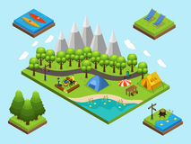 Isometric Outdoor Recreation Composition. Isometric outdoor recreation and hiking composition with people camping elements and nature objects isolated vector Royalty Free Stock Photos