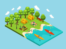 Isometric Outdoor Recreation Concept. With relaxing people and summer camping near river vector illustration vector illustration