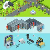 Isometric Outdoor Surveillance System Horizontal Banners. With cctv camera in park transmits signal to datacenter and screens vector illustration Royalty Free Stock Photo