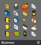Isometric outline color icons set. Isometric outline color icons, 3D pictograms vector set - Business symbol collection Royalty Free Stock Photos