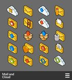 Isometric outline color icons set. Isometric outline color icons, 3D pictograms vector set - Mail and cloud symbol collection Royalty Free Stock Image