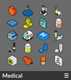 Isometric outline color icons set. Isometric outline color icons, 3D pictograms vector set - Medical symbol collection Royalty Free Stock Photography