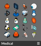 Isometric outline color icons set. Isometric outline color icons, 3D pictograms vector set - Medical symbol collection Royalty Free Stock Photos