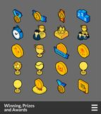 Isometric outline color icons set. Isometric outline color icons, 3D pictograms vector set - Winning, Prizes and awards symbol collection Stock Images