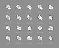 Isometric outline icons set. Isometric outline icons, 3D pictograms vector set - Mail and cloud symbol collection Stock Photos