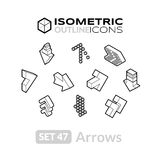 Isometric outline icons set 47. Isometric outline icons, 3D pictograms vector set 47 - Arrows symbol collection Royalty Free Stock Photography