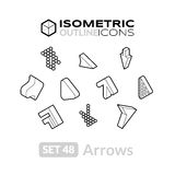 Isometric outline icons set 48. Isometric outline icons, 3D pictograms vector set 48 - Arrows symbol collection Stock Image
