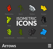 Isometric outline icons set 47. Isometric outline icons, 3D pictograms vector set 47 - Arrows symbol collection Stock Photography
