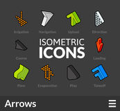 Isometric outline icons set 48. Isometric outline icons, 3D pictograms vector set 48 - Arrows symbol collection Royalty Free Stock Photos