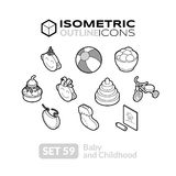 Isometric outline icons set 59 Royalty Free Stock Photos