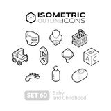 Isometric outline icons set 60. Isometric outline icons, 3D pictograms vector set 60 - Baby and childhood symbol collection Stock Images
