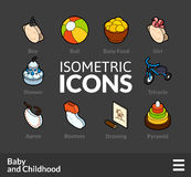 Isometric outline icons set 59 Royalty Free Stock Photography
