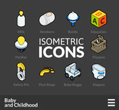 Isometric outline icons set 60. Isometric outline icons, 3D pictograms vector set 60 - Baby and childhood symbol collection stock illustration