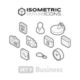 Isometric outline icons set 9. Isometric outline icons, 3D pictograms vector set 9 - Business symbol collection Stock Photos