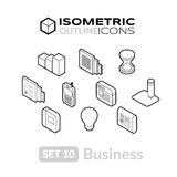 Isometric outline icons set 10. Isometric outline icons, 3D pictograms vector set 10 - Business symbol collection Stock Images