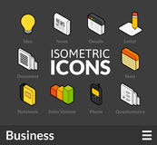 Isometric outline icons set 10. Isometric outline icons, 3D pictograms vector set 10 - Business symbol collection Royalty Free Stock Images
