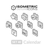Isometric outline icons set 40 Stock Photography