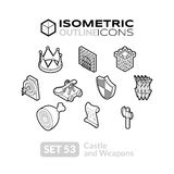 Isometric outline icons set 53 Stock Photography