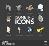 Isometric outline icons set 53 Royalty Free Stock Images