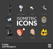 Isometric outline icons set 54 Royalty Free Stock Photography