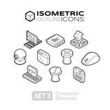 Isometric outline icons set 3 Stock Photos