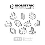 Isometric outline icons set 4 Stock Images