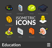 Isometric outline icons set 15. Isometric outline icons, 3D pictograms vector set 15 - Education symbol collection Royalty Free Stock Photo