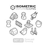 Isometric outline icons set 22 Royalty Free Stock Images