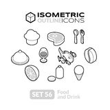 Isometric outline icons set 56. Isometric outline icons, 3D pictograms vector set 56 - Food and drink symbol collection Stock Images